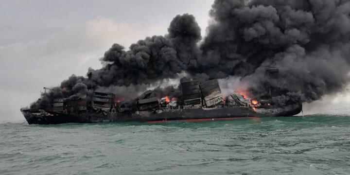 X-Press Pearl se ve peor para usar mientras el fuego furioso continúa ardiendo